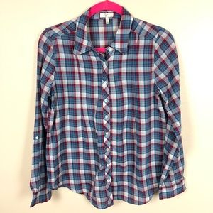 Joie plaid button down blouse tab sleeves small